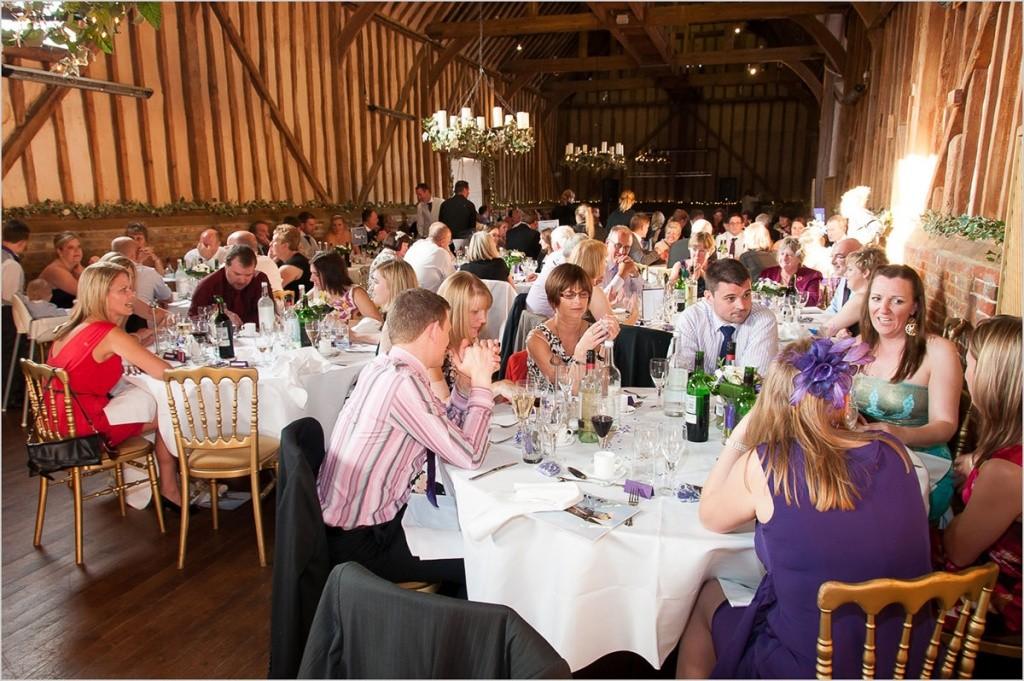 Great Barn Wedding breakfast in full swing.