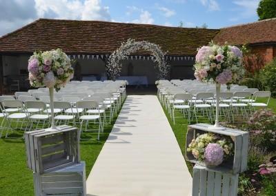 Cloisters Garden set for wedding ceremony