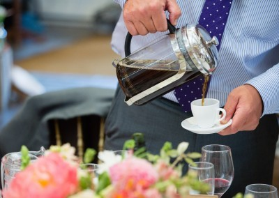 Chris Giles Photography.Cafetiere coffee served at the end of your wedding breakfast with home made fudge.