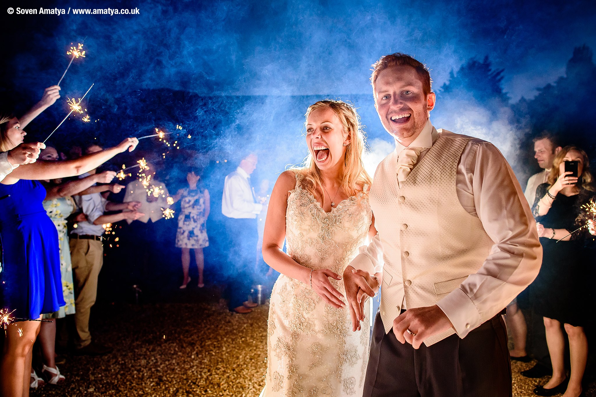 Sparklers for a Winter Wedding